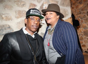 PARK CITY, UT - JANUARY 20: Orlando Jones (L) and Radha Blank attend as The House of Remy Martin celebrates the APEX Social Club at the WanderLuxxe House with Common and Friends on January 20, 2018 in Park City, Utah.