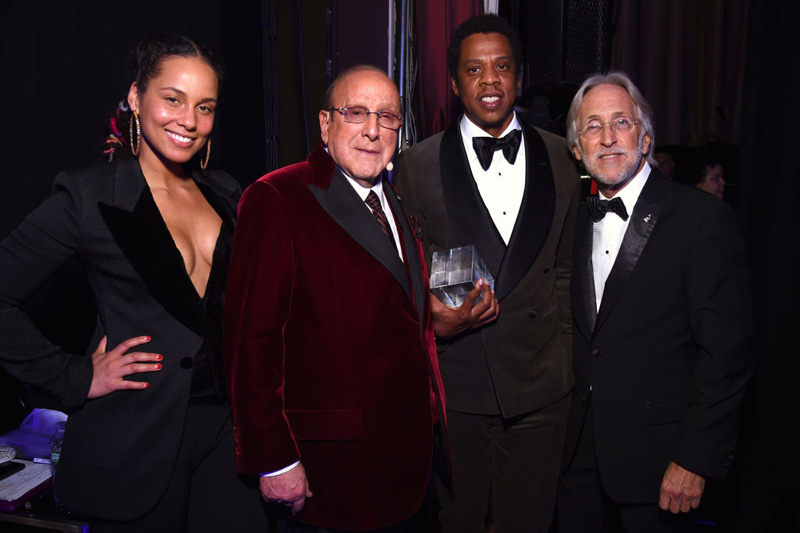 NEW YORK, NY - JANUARY 27:  Recording artist Alicia Keys, host Clive Davis, Honoree Jay-Z, and Recording Academy and MusiCares President/CEO Neil Portnow attend the Clive Davis and Recording Academy Pre-GRAMMY Gala and GRAMMY Salute to Industry Icons Honoring Jay-Z on January 27, 2018 in New York City.