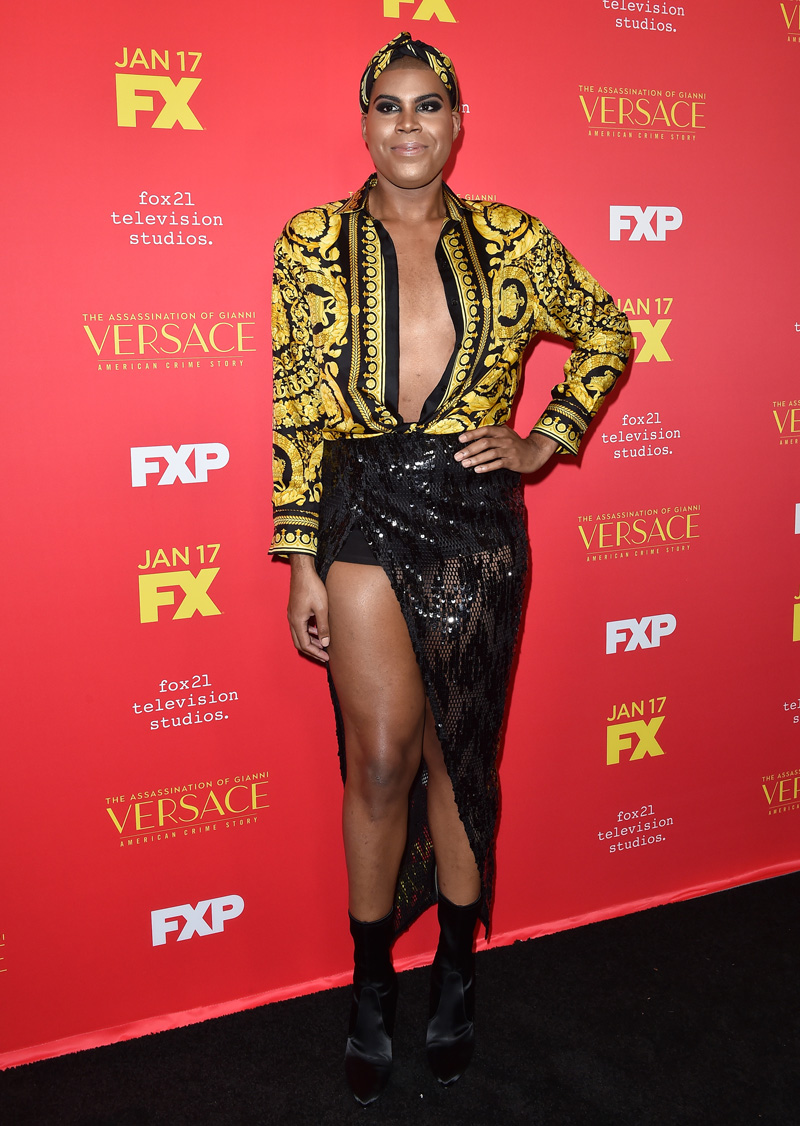 EJ Johnson dons Versace for American Crime Story premiere
