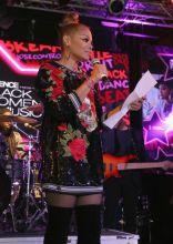 NEW YORK, UNITED STATES - JANUARY 25: Janet Jackson speaks onstage at the Essence 9th annual Black Women in Music at Highline Ballroom on January 25, 2018 in New York City.
