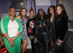 NEW YORK, NY - JANUARY 25: Essence Magazine Editor In Chief Vanessa De Luca, Jennifer Edwards, Janet Jackson, Missy Elliott, guest and Essence Communications President Michelle Ebanks attend the Essence 9th annual Black Women in Music at Highline Ballroom on January 25, 2018 in New York City.