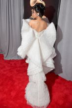 NEW YORK, NY - JANUARY 28: Recording artist Cardi B, dress detail, attends the 60th Annual GRAMMY Awards at Madison Square Garden on January 28, 2018 in New York City.
