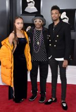 NEW YORK, NY - JANUARY 28: (L-R) Satchel Lee, Director Spike Lee, and Jackson Lee attend the 60th Annual GRAMMY Awards at Madison Square Garden on January 28, 2018 in New York City.