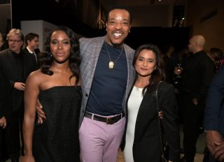 BEVERLY HILLS, CA - FEBRUARY 23: (L-R) Clare-Hope Ashitey, Russell Hornsby, and Veena Sud attend Netflix's 'Seven Seconds' Premiere screening and post-reception in Beverly Hills, CA on February 23, 2018 in Beverly Hills, California.
