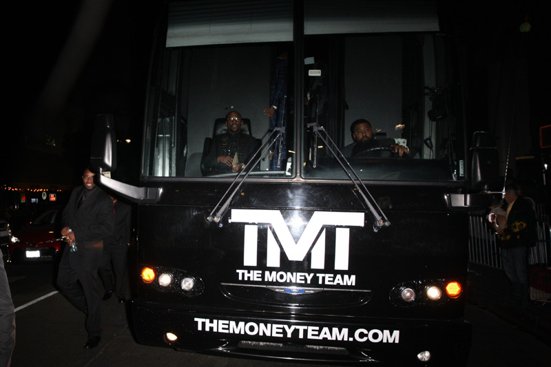 Floyd Mayweather sits in the front seat of his 'TMT' party bus as he leaves The Reserve night club with his family and friends after celebrating his 41st birthday in Los Angeles