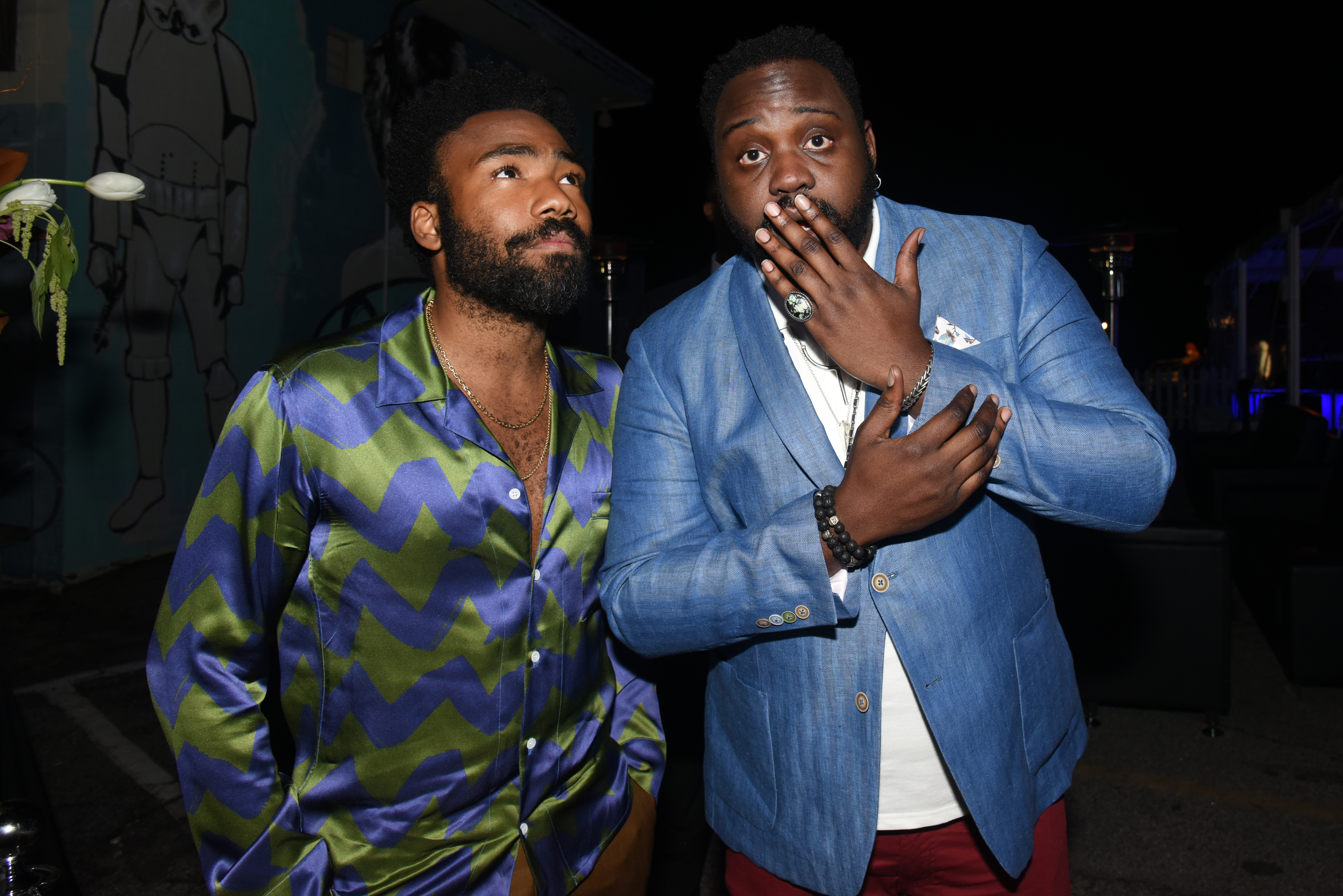 """ATLANTA -- Season Two - Pictured: Donald Glover and Brian Tyree Henry attend a screening of """"Atlanta"""" at the Starlight Six Drive In on February 26, 2018 in Atlanta, Georgia.."""