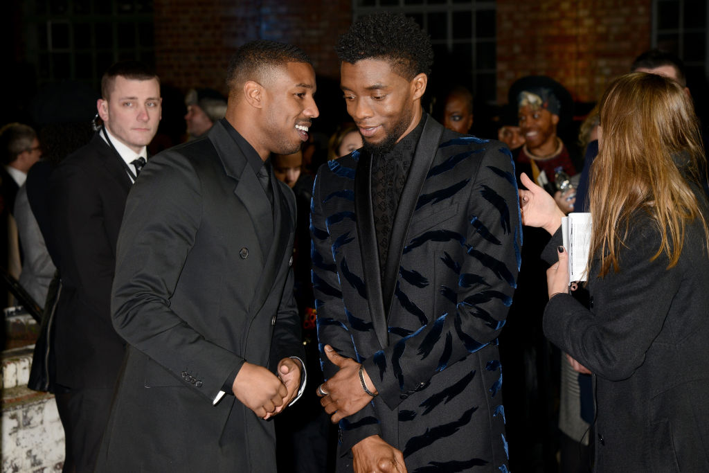 LONDON, ENGLAND - FEBRUARY 08:  Michael B. Jordan (L) and Chadwick Boseman attend the European Premiere of 'Black Panther' at Eventim Apollo on February 8, 2018 in London, England.