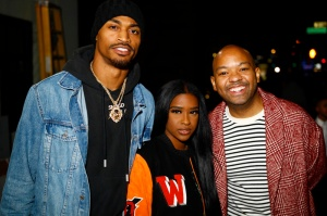 """Teyana Taylor celebrates the grand opening of """"Junie Bee Nails"""" with celeb friends in NYC Jaelen Strong & Adonis Spicer"""