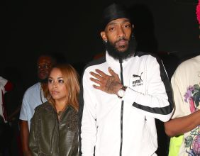 Rapper Nipsey Hussle and Lauren London. Arrive at the nice guy to celebrate nipsey new album.
