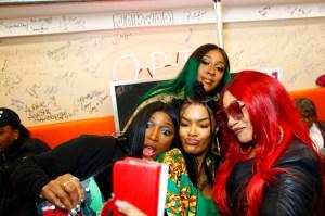 "Teyana Taylor celebrates the grand opening of ""Junie Bee Nails"" with celeb friends in NYC Tamara 'Taj' Johnson, Cheryl 'Coko' Gamble and Leanne 'Lelee' Lyons of SWV & Teyana Taylor"