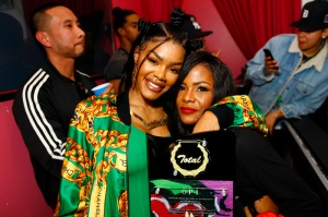 """Teyana Taylor celebrates the grand opening of """"Junie Bee Nails"""" with celeb friends in NYC Teyana Taylor and Kima Raynor Dyson"""