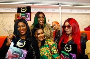 "Tamara 'Taj' Johnson, Cheryl 'Coko' Gamble and Leanne 'Lelee' Lyons of SWV Teyana Taylor celebrates the grand opening of ""Junie Bee Nails"" with celeb friends in NYC"