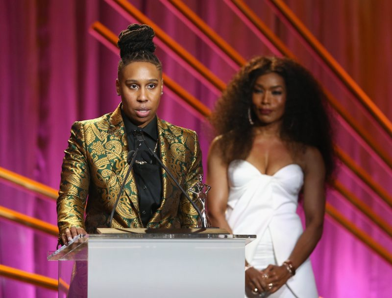 BEVERLY HILLS, CA - MARCH 01: Honoree Lena Waithe (L) and Presenter Angela Bassett speak onstage during the 2018 Essence Black Women In Hollywood Oscars Luncheon at Regent Beverly Wilshire Hotel on March 1, 2018 in Beverly Hills, California.