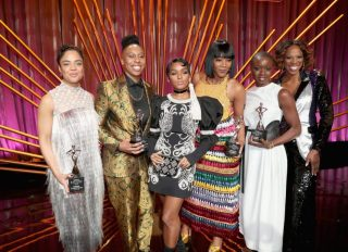 BEVERLY HILLS, CA - MARCH 01: (L-R) Tessa Thompson, Lena Waithe, Janelle Monae, Tiffany Haddish, Danai Gurira and Yvonne Orji onstage during the 2018 Essence Black Women In Hollywood Oscars Luncheon at Regent Beverly Wilshire Hotel on March 1, 2018 in Beverly Hills, California.