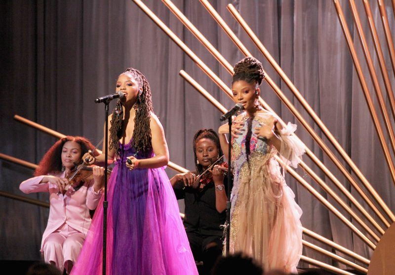 BEVERLY HILLS, CA - MARCH 01: Chloe Bailey x Halle Bailey perform onstage during the 2018 Essence Black Women In Hollywood Oscars Luncheon at Regent Beverly Wilshire Hotel on March 1, 2018 in Beverly Hills, California.
