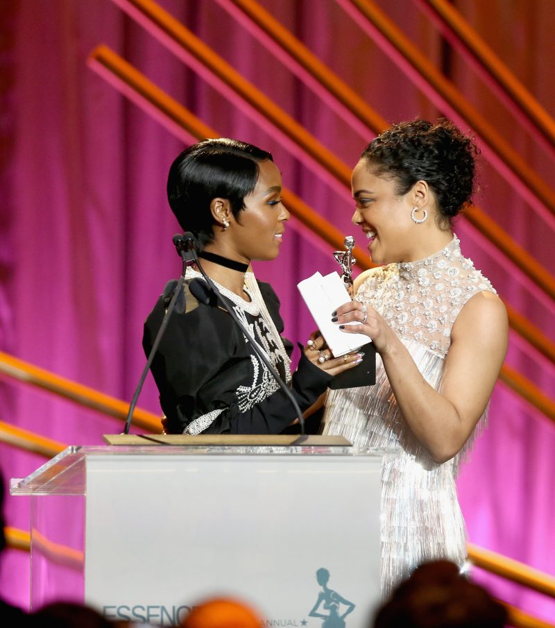BEVERLY HILLS, CA - MARCH 01: Presenter Janelle Monae (L) and Honoree Tessa Thompson speak onstage during the 2018 Essence Black Women In Hollywood Oscars Luncheon at Regent Beverly Wilshire Hotel on March 1, 2018 in Beverly Hills, California.