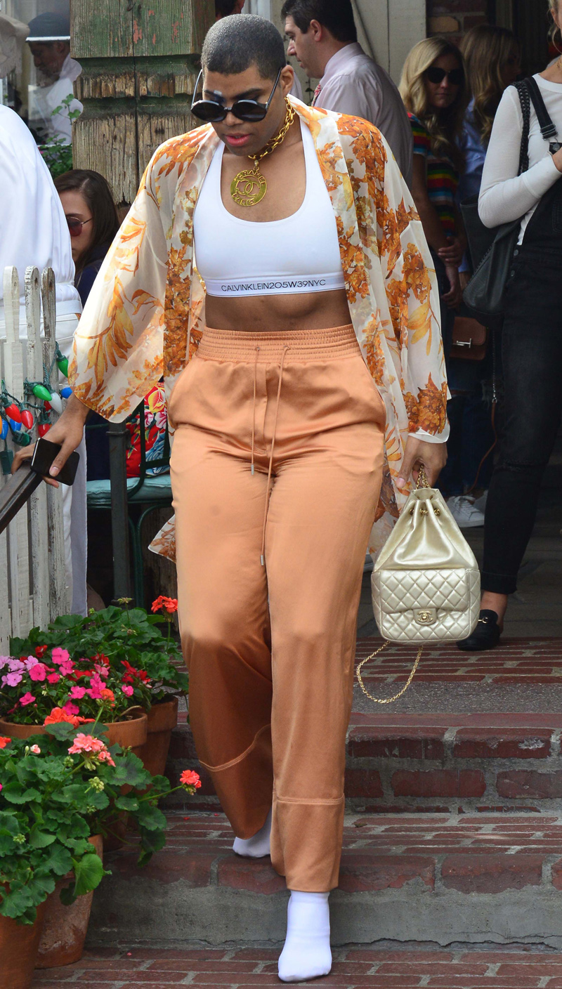 EJ Johnson the son of Basketball legend Magic Johnson looks very fashionable as he leaves lunch at the Ivy Restaurant in Beverly Hills, Ca