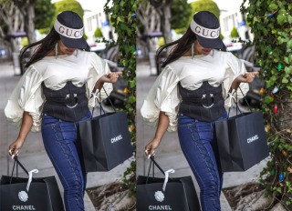Ashanti is seen shopping at Chanel on Robertson in West Hollywood, Los Angeles, United States