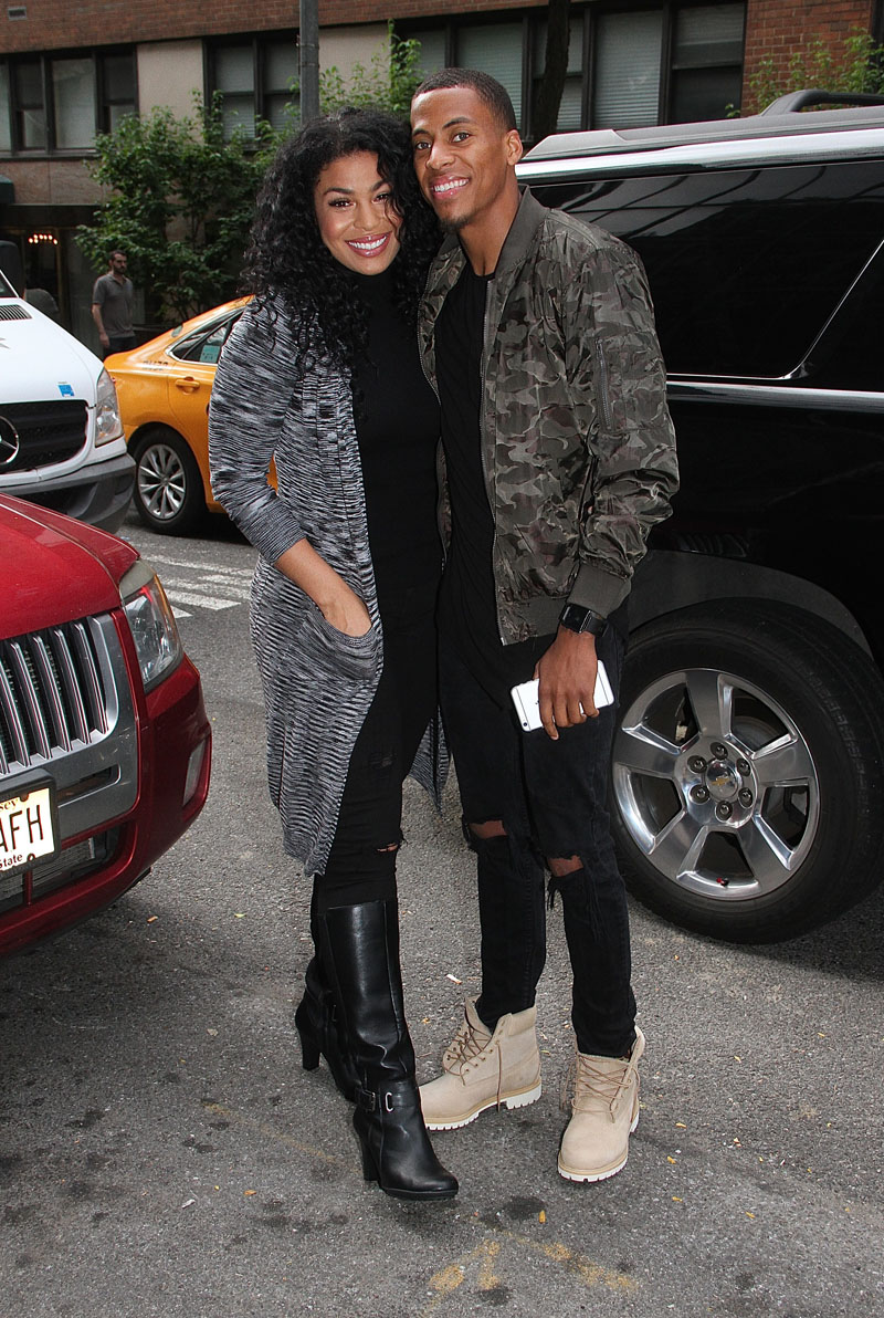 Jordin Sparks and boyfriend Dana Isaiah spotted leaving 'Good Day New York' in New York City, New York.