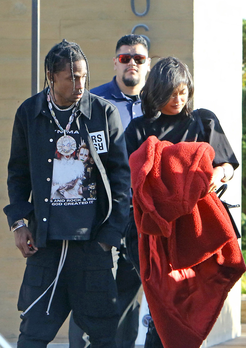 Kylie Jenner and Travis Scott dine with friends at Nobi in Malibu, CA.