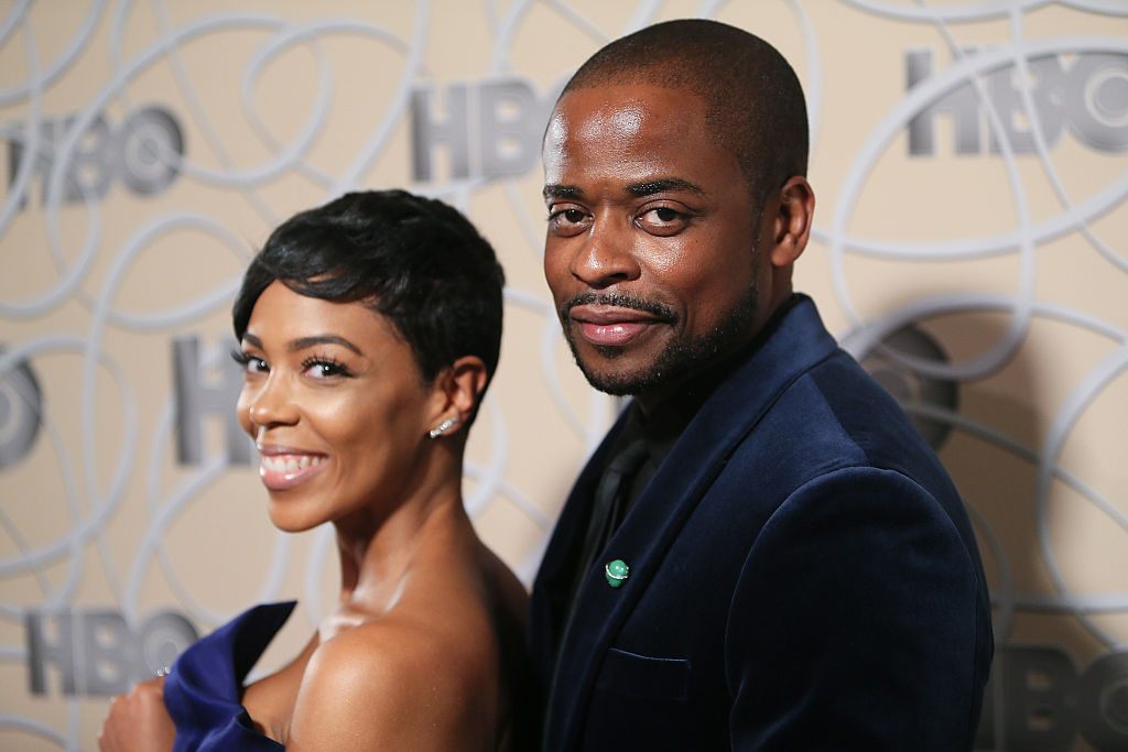 LOS ANGELES, CA - JANUARY 08:  Actress Jazmyn Simon and actor Dule Hill arrive at HBO's Official Golden Globe Awards after party at the Circa 55 Restaurant on January 8, 2017 in Los Angeles, California.