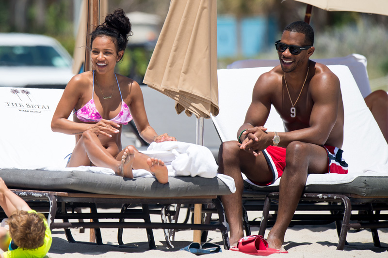 Karrueche Tran and her boyfriend NFL free agent Victor Cruz are seen during a beach day in Miami. Karrueche Tran was seen wearing a small golden necklace with her name written on it. The 29 year old actress has been filming her TNT show Claws.