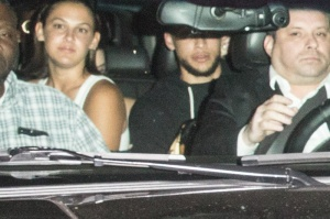 Kendall Jenner and rumored boyfriend Ben Simmons are both spotted together inside a SUV leaving a party in Los Angeles, USA.
