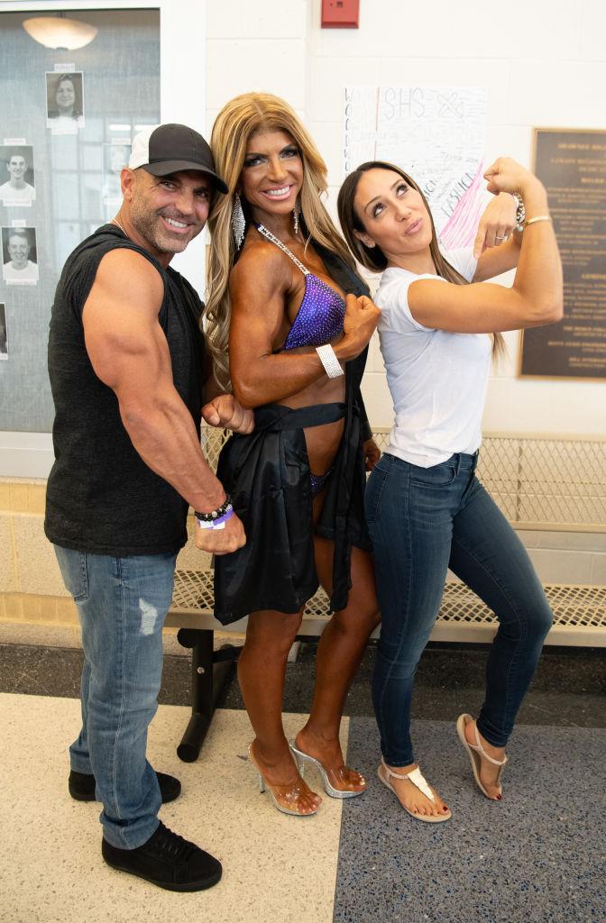 MEDFORD, NJ - JUNE 09: Joe Gorga, Teresa Giudice and Melissa Gorga pose at the NPC South Jersey Bodybuilding Championships on June 9, 2018 in Medford, New Jersey.