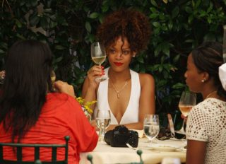Rihanna continues her holiday in Porto Fino Italy with lunch with her friends on the port