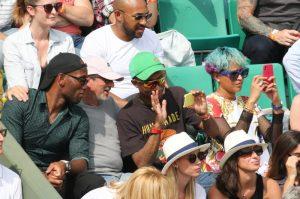 Pharrell Williams and wife Helen Lasichanh attend Roland Garros Tennis Master in Paris, France.