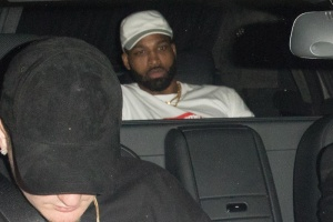 Reality star Khloe Kardashian and NBA star boyfriend Tristan Thompson are spotted out partying together after dinner in Los Angeles, CA. The couple are seen at the back of a car.