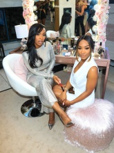 Celebrities, including Khadijah Haqq McCray and Nicole Williams, are seen attending the Fashionsta Launch Party at Neuehouse in Los Angeles, California.