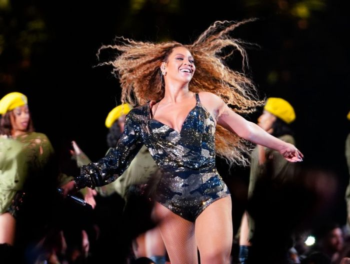 Beyonce whips her hair back and forth during her performance at the 2018 Coachella Music Festival in Indio, CA