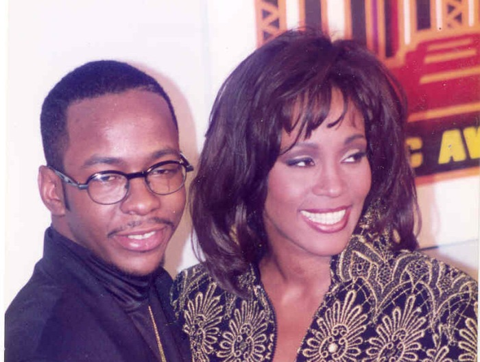 Whitney Houston husband Bobby Brown appear in the pressroom at the Soul Train Music Awards in Los Angeles in 1994.