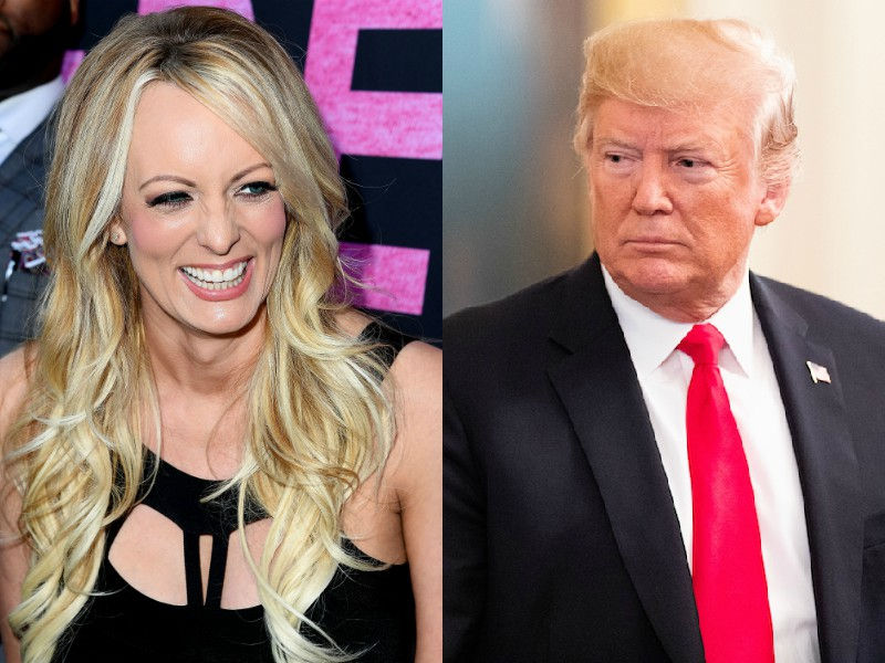 Donald Trump: (Photo by Michael Brochstein/SOPA Images/LightRocket via Getty Images)  Stormy Daniels: (Photo by Steve Granitz/WireImage)