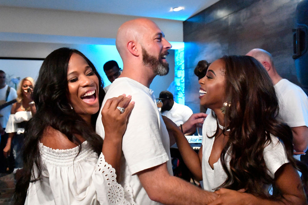 THE REAL HOUSEWIVES OF POTOMAC -- Pictured: (l-r) Charrisse Jackson-Jordan, Chris Bassett, Candiace Dillard--