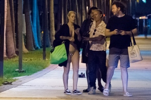Australian rapper Iggy Azalea is seen with pals at Miami Beach harbor after a fun boat day