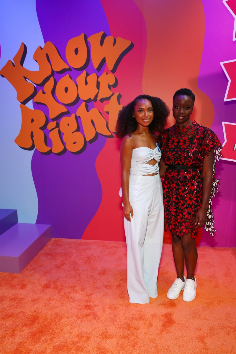 BROOKLYN, NY - SEPTEMBER 05: Logan Browning and Danai Gurira attends the Expand Your Reality Opening Party on September 5, 2018 in Brooklyn City.