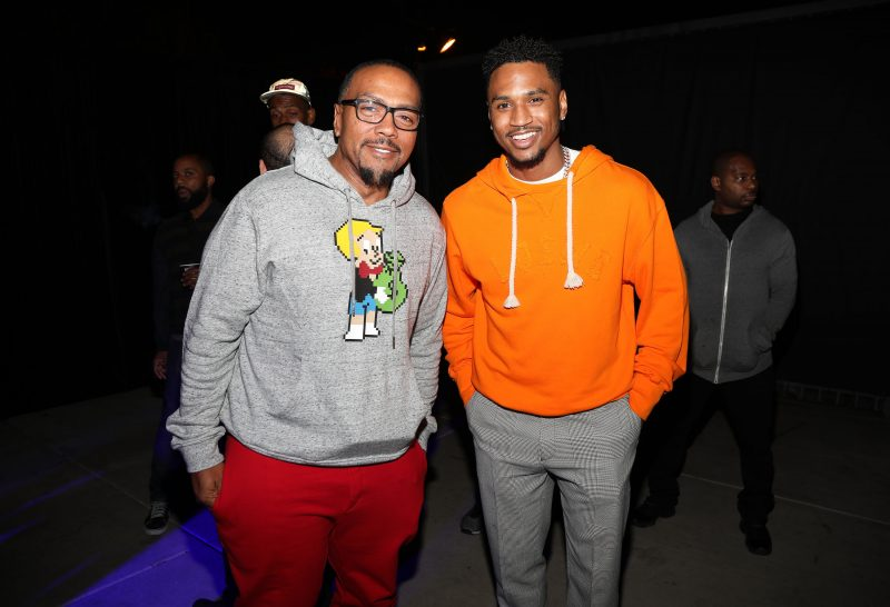LOS ANGELES, CA - SEPTEMBER 27: Musicians Timbaland (L) and Trey Songz attend Lil Wayne's 36th birthday party and Carter V release at HUBBLE on September 27, 2018 in Los Angeles, California.