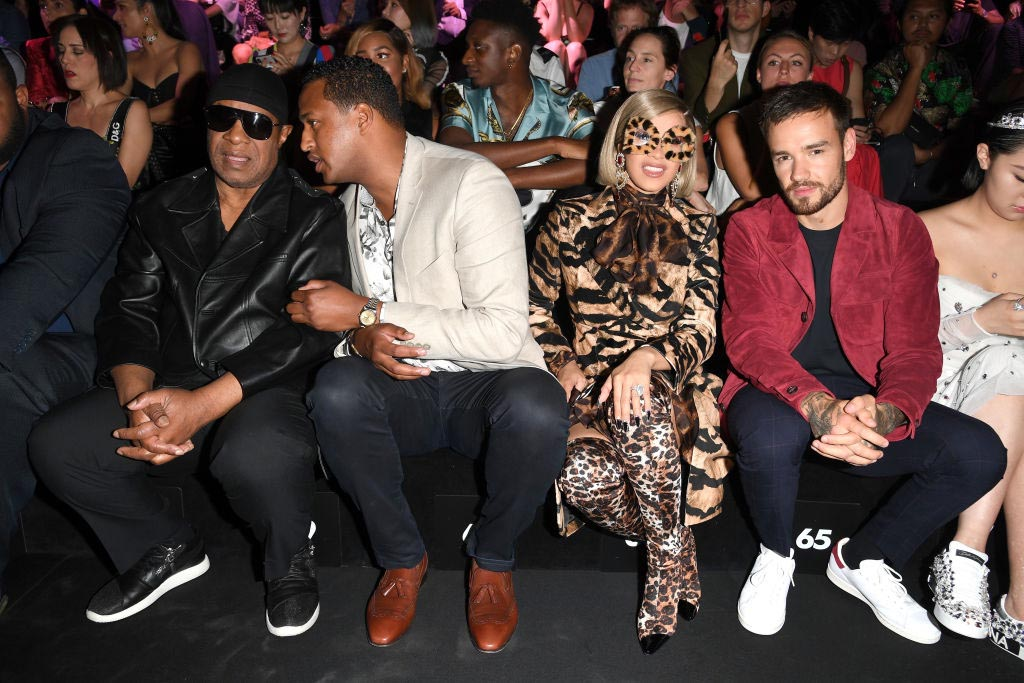 Stevie Wonder, guest, Cardi B and Liam Payne attend the Dolce & Gabbana show during Milan Fashion Week Spring/Summer 2019 on September 23, 2018 in Milan, Italy.