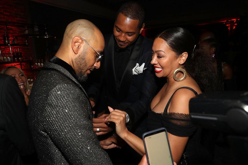 NEW YORK, NY - SEPTEMBER 12: Swizz Beatz, Carmelo Anthony and Lala Anthony attends Swizz Beatz Birthday Celebration on September 12, 2018 in New York City.