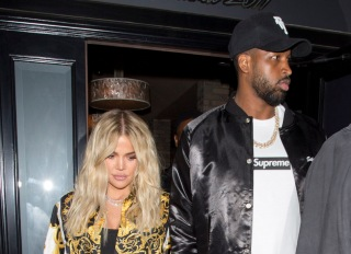 New Mom, Khloe Kardashian dressed from Head to Toe in 'Versace' as she left dinner with boyfriend Tristan Thompson at 'Craigs' Restaurant in West Hollywood, CA