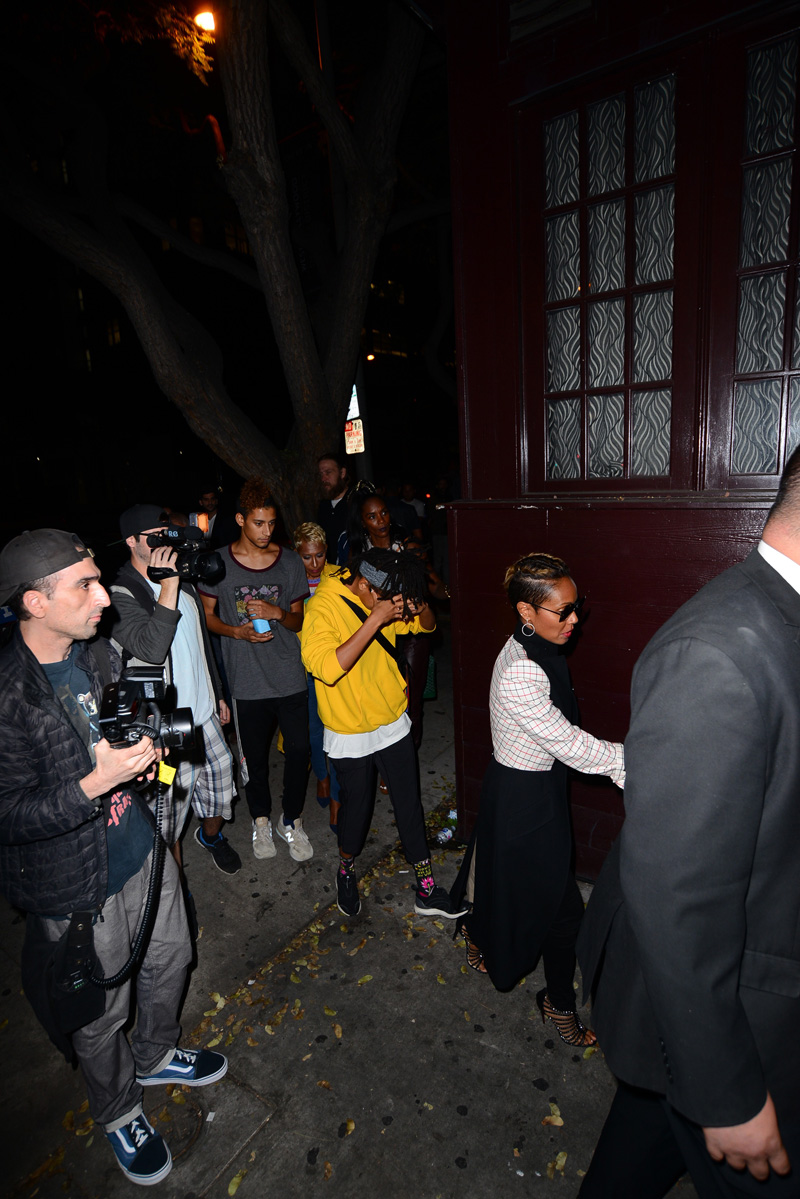 Will Smith and family leave the Peppermint club for Dave Chapelle show in Los Angeles, CA.