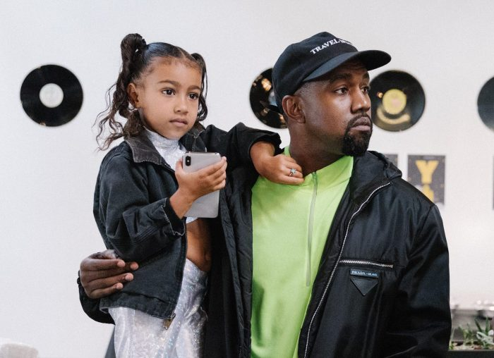 Kanye West and Daughter North West At Stashed SF sneaker store with Steve Stoute