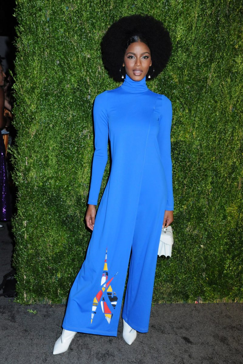 Ebonee Davis 15th Annual CFDA/Vogue Fashion Fund 2018, held in the Brooklyn Navy Yard in Brooklyn, New York