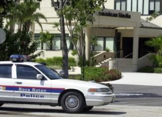 A Boca Raton police car blocks the entra