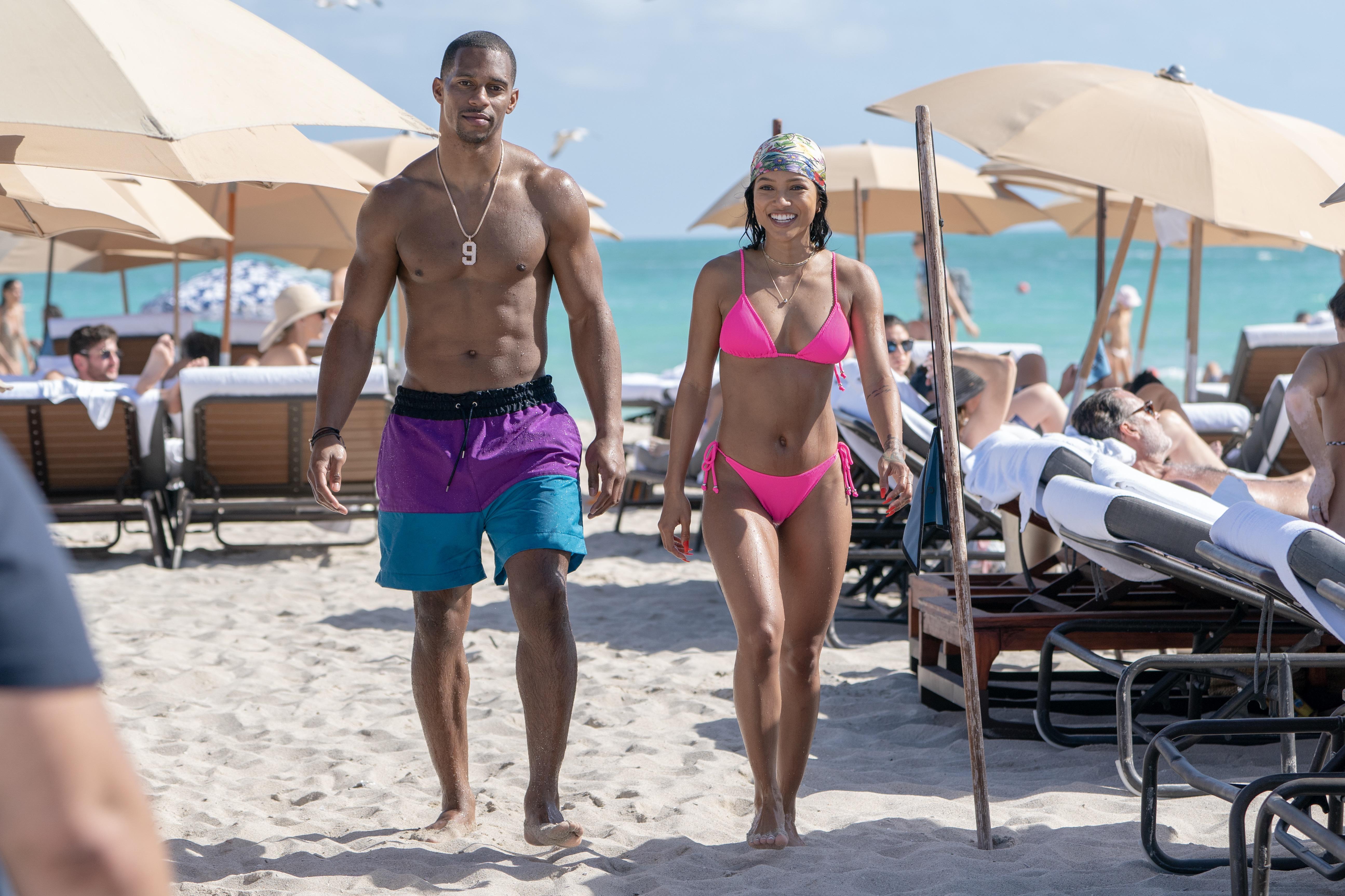 Karrueche and Victor Cruz Bring In The New Year In Miami