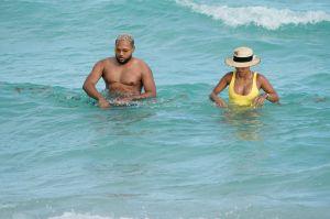 Karrueche Tran Yellow One Piece Miami Beach