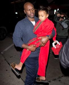 North West wears red Fendi sweatsuit to dinner with mom Kris Jenner Kourtney Kardashian and Corey Gamble