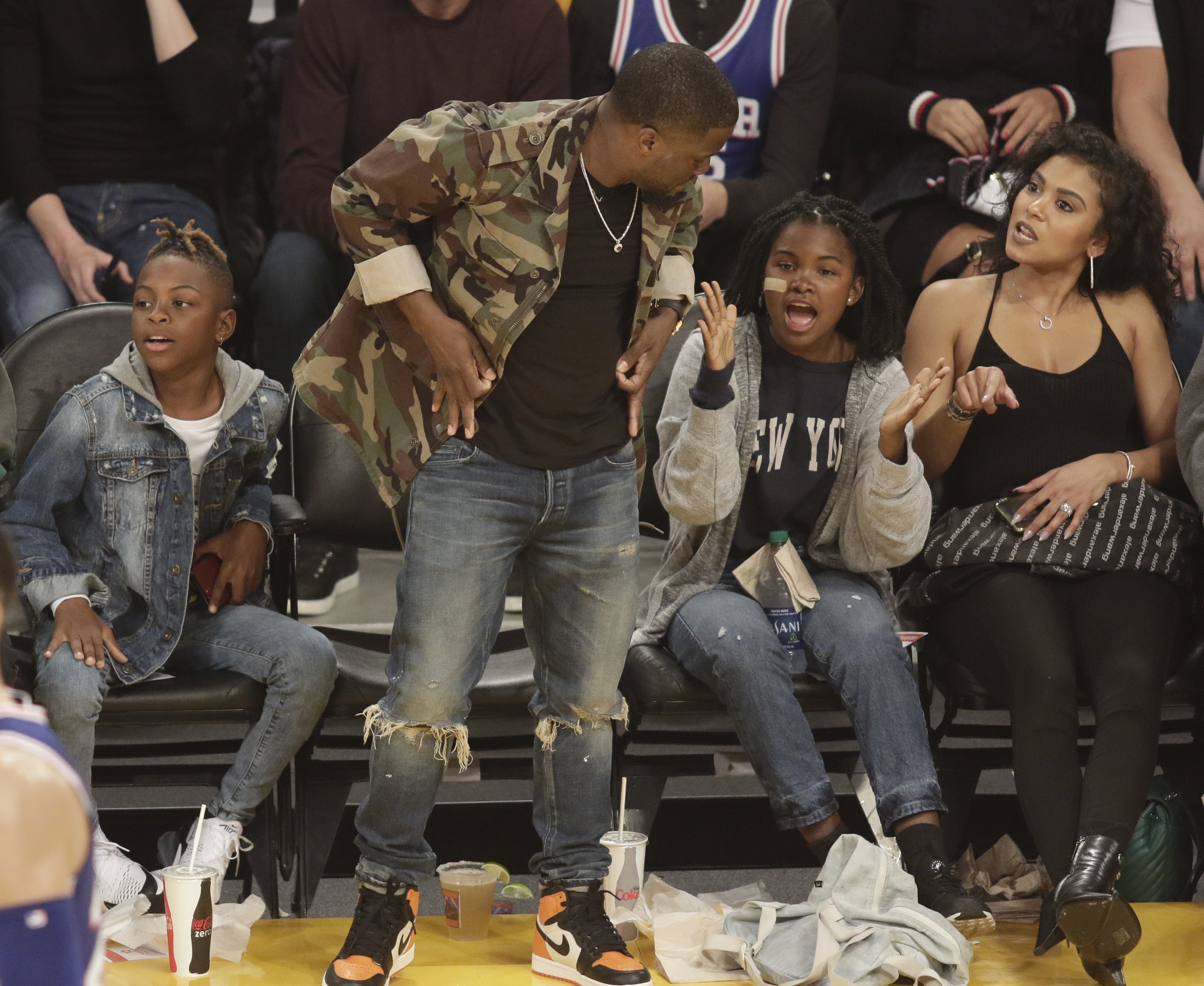 Celebrities Attend Los Angeles Lakers vs Philadelphia 76ers game